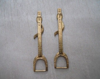 Vintage Oxidized Brass Stirrup Findings