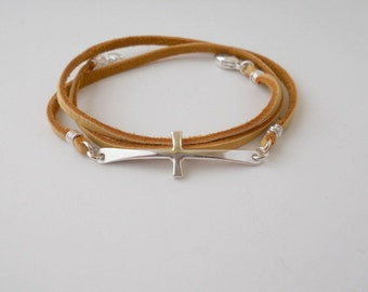 Sterling Silver Cross Leather bracelet - woven braided bracelet