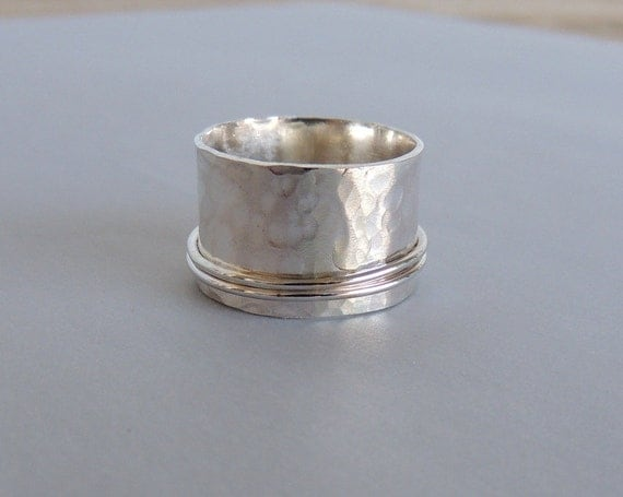 Sterling Spinner Ring - Wide Band Silver Ring SR105