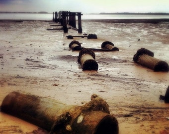 Landscape Photography 5x5 Jetty Photo - Beach Photography. Rustic Pier. Nautical Print. Coastal Home Decor Ocean Picture