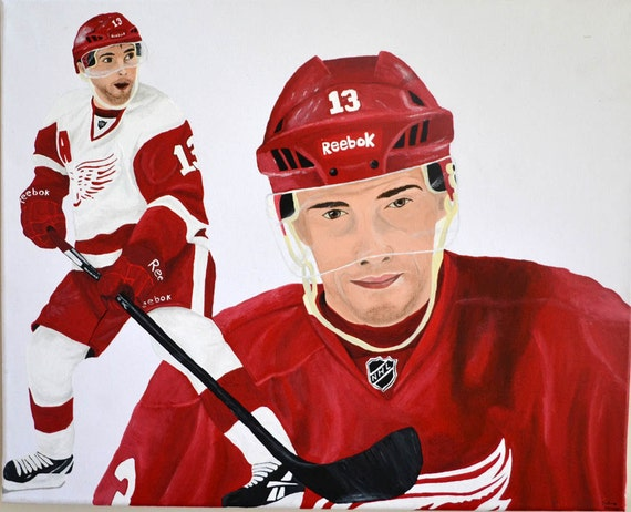Pavel Datsyuk Detroit Red Wings 16x20 Canvas Painting