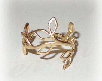 Twig Vine Ring Matte Gold Midi Pinky Finger Ring Adjustable Floral Organic Leaf Branch Design