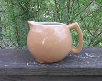 Vintage Pottery Pitcher - Rustic Golden Tan
