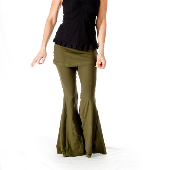 Womens Yoga Pants Flare Bellbottom Pants With Attached Skirt