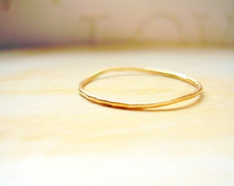 Dainty Gold Ring 14K Gold Very Thin Wedding Band Hammered & Slightly Wavy Stacking Ring - made to order in your finger size