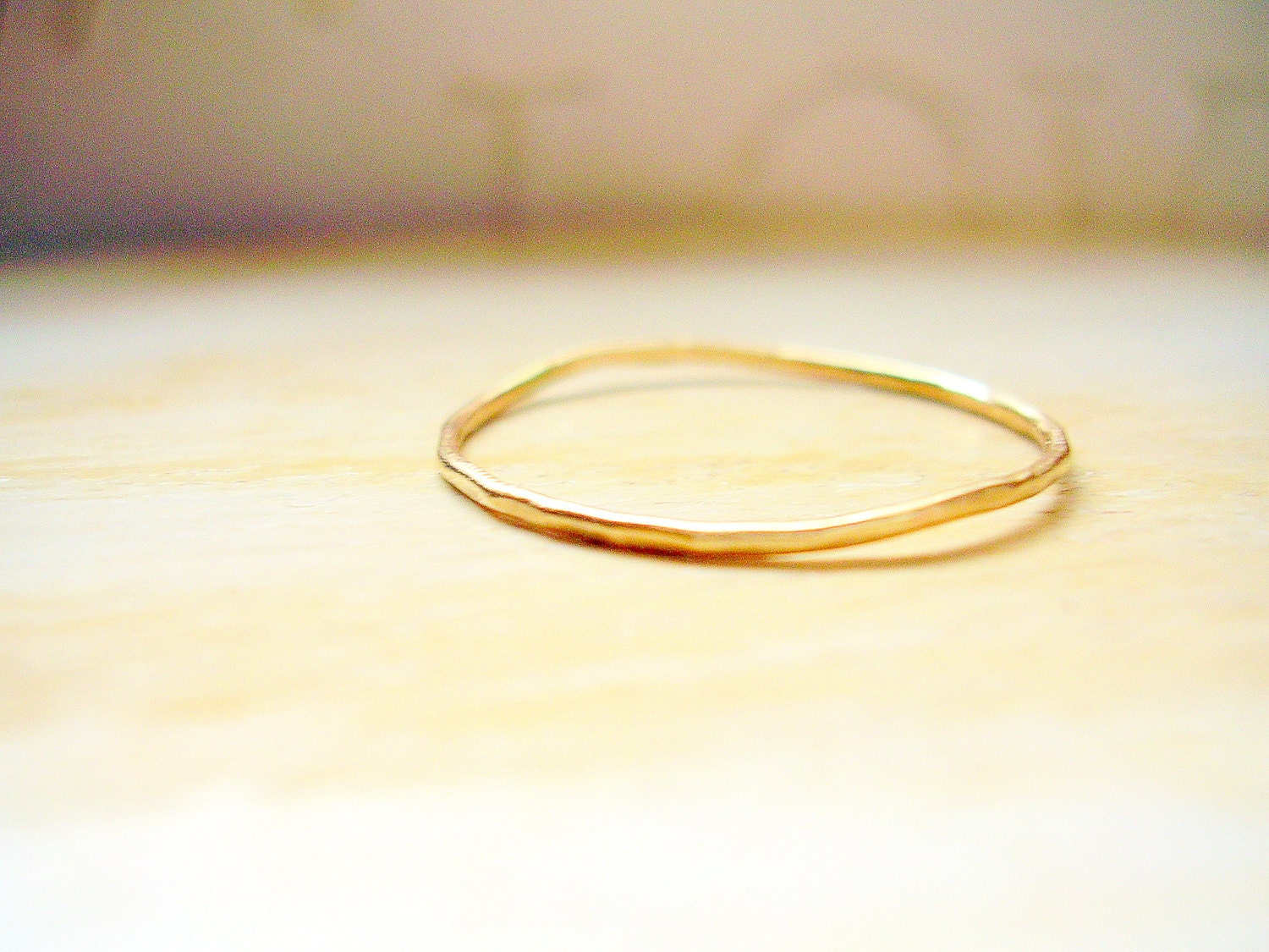 dainty gold ring 14k gold thin wedding band hammered