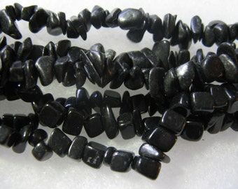 BlackStone Gemstone Chip Beads 2 - 12 inch Strands Black Beads