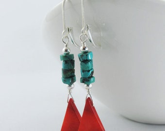 Lovely Red and Turquoise Earrings - Red Sponge Coral Tear Drops, Turquoise Heishe Beads, Sterling Silver