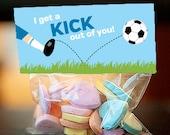 Soccer Valentine's Day treat bag topper, soccer valentine for boys, sports valentine, editable pdf - instant download
