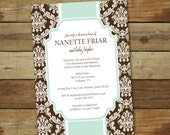 baby shower invitation - garden damask in brown and blue