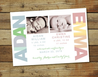 birth announcement for twins, with photo - welcome babies