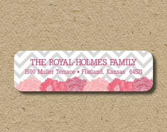 Floral return address labels, self-adhesive address stickers - gray chevron and pink flowers, baby shower thank you labels