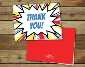 Printable thank you notes, folded thank you cards, super hero comic, instant download