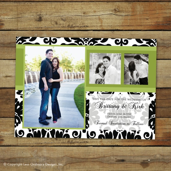 save the date photo card or thank you note, black and white damask
