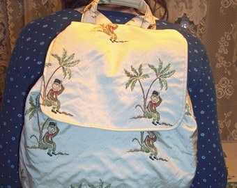CLEARANCE  My Carrie Full Sized Monkey and Palm Trees Backpack Ready to Ship