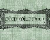 Digital Download Caed Mile Failte, Celtic Knot Greeting Welcome digi stamp, digis, Irish Design, St Patrick's Day, Celtic Knotwork Frame