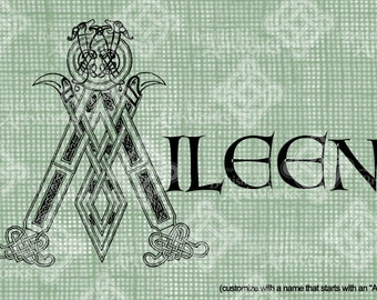 """Digital Download Celtic Illumination Letter A, Customize the Name or get the """"A"""" image alone, digi stamp, digis St Patrick's Day, Name Plate"""