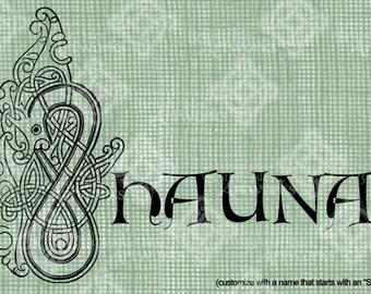 """Digital Download Letter S Celtic Illumination, Customize the Name or get the """"S"""" image alone, digi stamp, digis St Patrick's Day, Name Plate"""