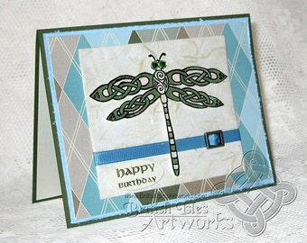 Celtic Dragonfly Birthday Card with greeting in English, Celtic Knots Background of Scottish Plaid, Moss Green and Blue, Knotwork