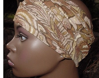 Headband-Tube-Dreadlocks-Locs-Natural Hair Accessories-Brown-Tan Paisley