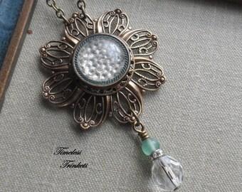 Antique Glass Button Necklace, Bubbles