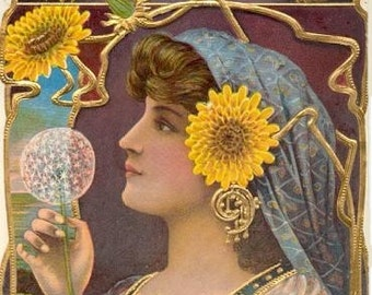 Art Print on SILK - Gypsy Fortune Teller w Dandelions - fiber arts - fabric collage - to embellish collage embroider