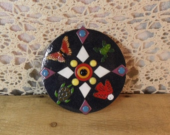 Copper Enameled wall plaque / trutle frog butterfly thunder bird