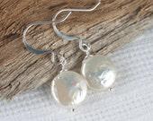 White Coin Pearl Silver Earrings, Silver Pearl Earrings, White Pearl Earrings, Bridal Earrings, Bridesmaid Earrings,