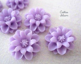 Purple Resin Flowers - Cabochon - Scrapbooking, Jewelry Design, Bobby Pin- set of 6