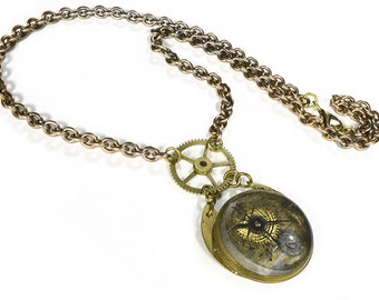 Steampunk Jewelry Necklace Vintage Optical THICK Lens Brass BOLD Gears Key, Men Women Steam Punk Burning Man Jewelry - Jewelry by edmdesigns