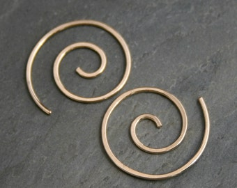 Little Spiral Earrings 14k Gold Filled, size small, 14 karat gold fill, Nautilus Spiral, Golden Spiral