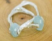 True Blue Faceted Aquamarine Twig Ring