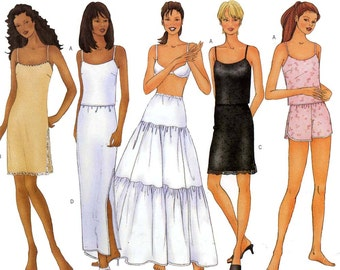 Camisole slip half slip shorts and petticoat lingerie sewing pattern Butterick 6777 Size 12 to 16