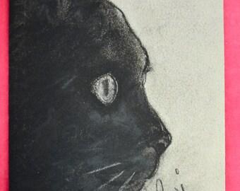 Black Cat in Profile Cat Art Mouse Pad by Cori Solomon