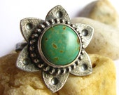 Turquoise Ring, Metalsnith Ring, Tribal Flower Ring, Size 6 Argentium Sterling Silver Ring, Silversmith Jewelry, Sterling Silver Jewelry