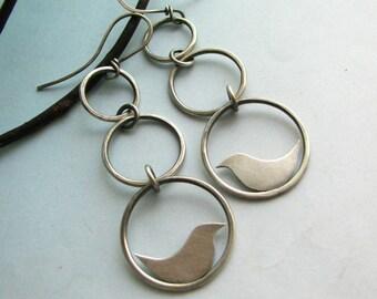 Sterling Silver Earrings, Swinging Bird Earrings, Contemporary Earrings, Artisan Jewelry, Metalsmith Earrings, Bird Jewelry, Nature Jewelry