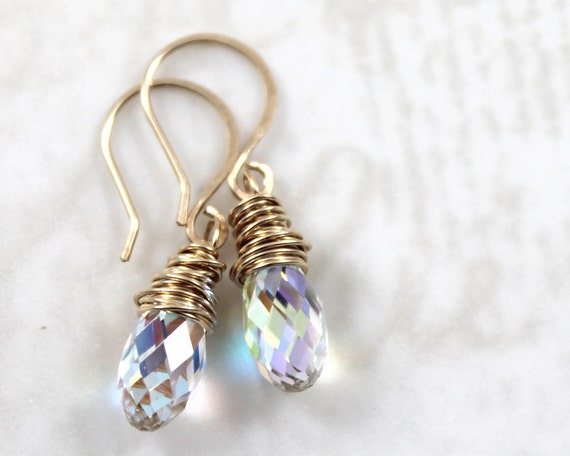 14 Colors to Choose From, Gold Filled Earrings, Swarovski Crystal Earrings, Dainty Earrings, Dangle Earrings, Wire Wrapped Earrings