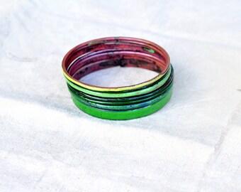 Handmade Bangles - 'Emerald' - Green Toned Enamel Bracelets