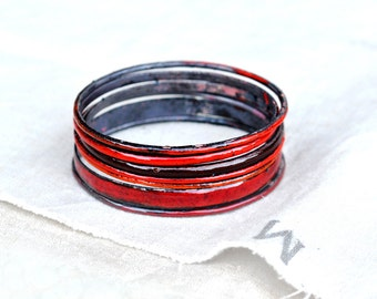 Handcrafted Bangle Set - 'Ruddy 'ell' - Crimson & Burgundy Toned Enamel Bracelets