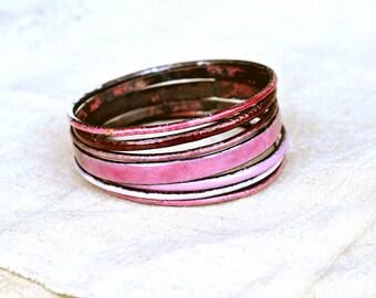 Handcrafted Bangle Set - 'Toff' - Candy Pink Toned Enamel Bracelets