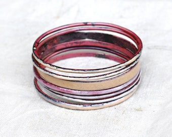 Handcrafted Bangle Set - 'Fancy Knickers' - Nude Toned Enamel Bracelets