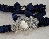 Wedding Garter Navy and Regal Jeweled Satin Bride Garter Set