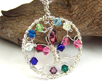 Mothers necklace Family Tree pendant with birthstones - Sterling Silver Swarovski Crystals - great Grandmother - Grandma Mom in law personal