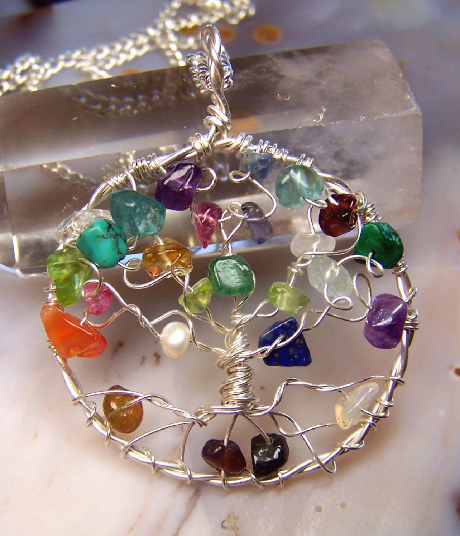 family tree necklace pendant genealogy tree of gemstone