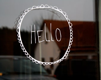 HELLO with Nubby Circle Hand drawn simple decal