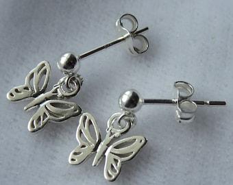 Sterling Silver Butterfly  Stud  Post Children  Earrings, Tiny Dangles, Ball Stud, Post, Butterflies Earrings, Flower Girl Earrings