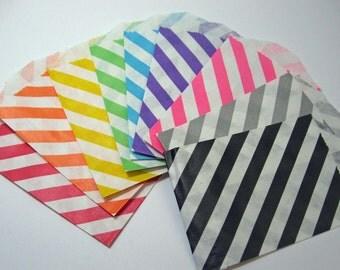 Diagonal Stripe Paper Bags - Sampler pack of 18 Little Bitty Bags
