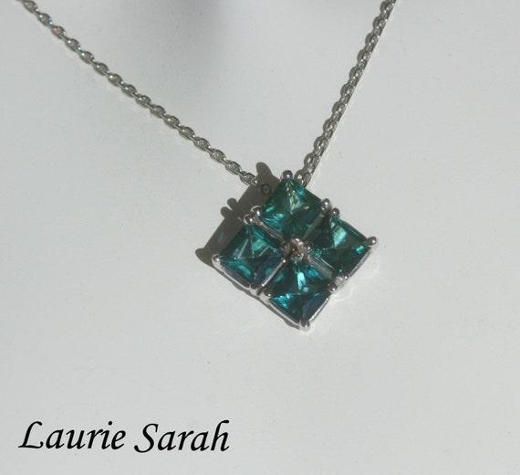 Laurie Sarah Designs Green Tourmaline Gold Pendant - Four Princess Cut Gems - LS503