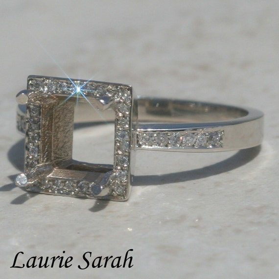 Halo Engagement Ring, Diamond Semi Mount for an Asscher, Square, Radiant, Cushion, or Princess Cut Gemstone  - LS362