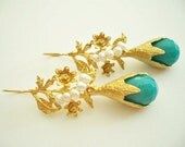 Turquoise quartz and pearl gold Leaves earring